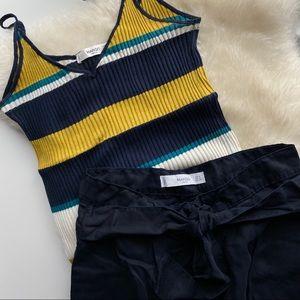 Mango Set Striped Top and Dark Blue Wide Leg Pants